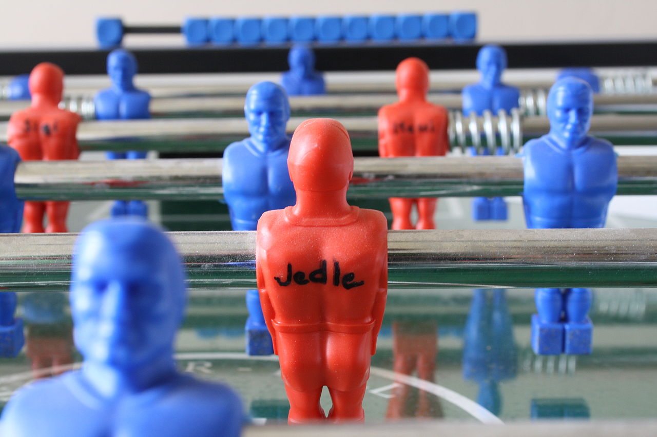 Detail of players of foosball table by FAS company.