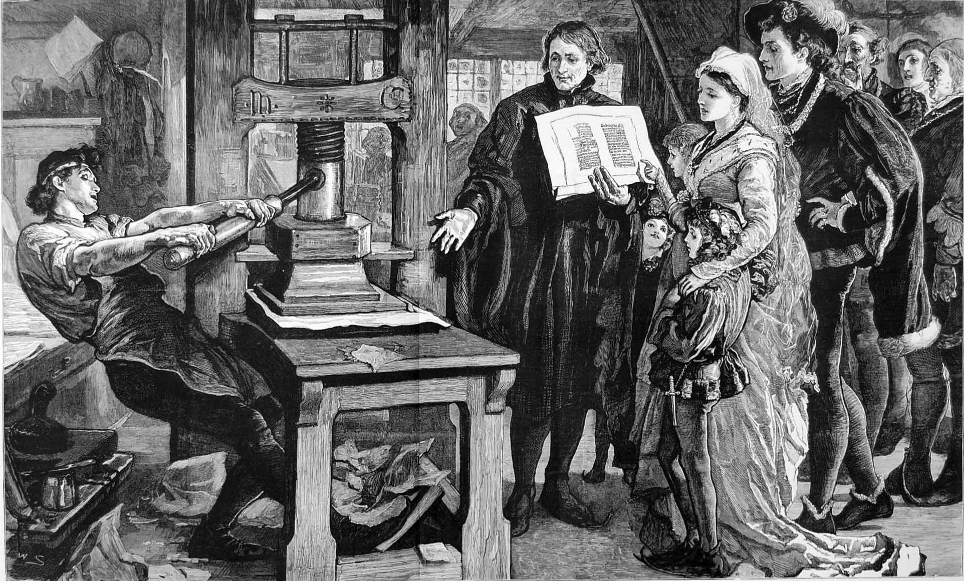 The Caxton Celebration - William Caxton showing specimens of his printing to King Edward IV and his Queen