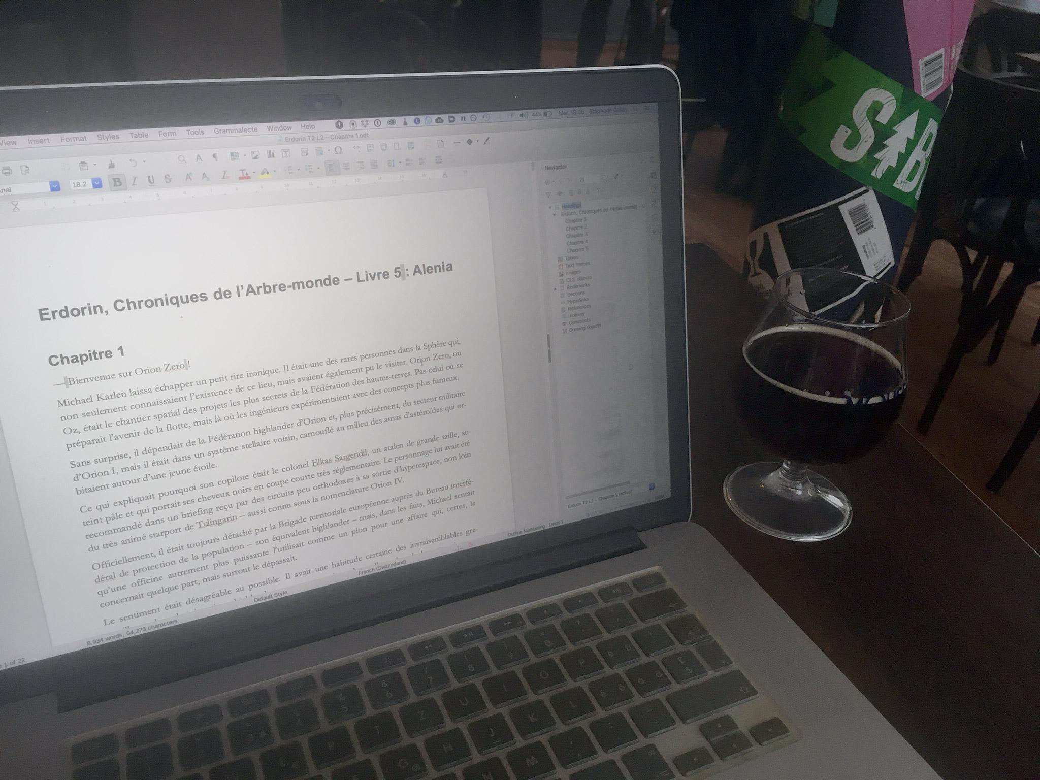 Erdorin L5 en cours d'écriture